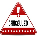 CANCELLED on red triangle road sign. Illustration